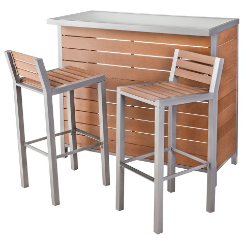 Bryant Faux Wood Patio Bar Furniture Set Thres Tar