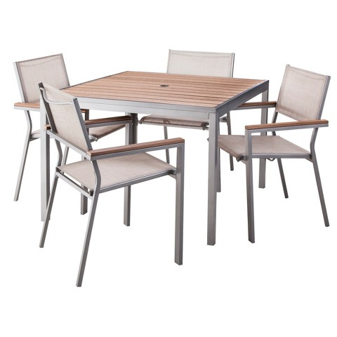Threshold™ Bryant 5-Piece Faux Wood Square Patio Dining Furniture Set
