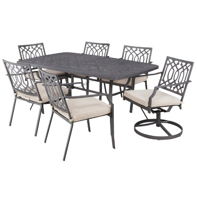 Harper 7-Piece Metal Rectangular Patio Dining Furniture Set - Tan - Threshold™
