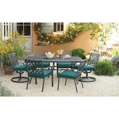Harper 7-Piece Metal Rectangular Patio Dining Furniture Set - Turquoise  - Threshold™