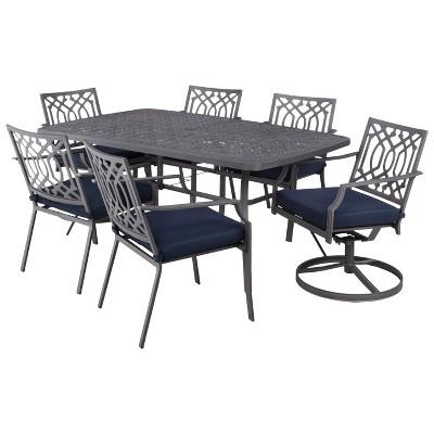 Harper 7-Piece Metal Rectangular Patio Dining Furniture Set - Navy - Threshold™