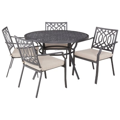 Harper 5-Piece Metal Round Patio Dining Furniture Set - Tan - Threshold™