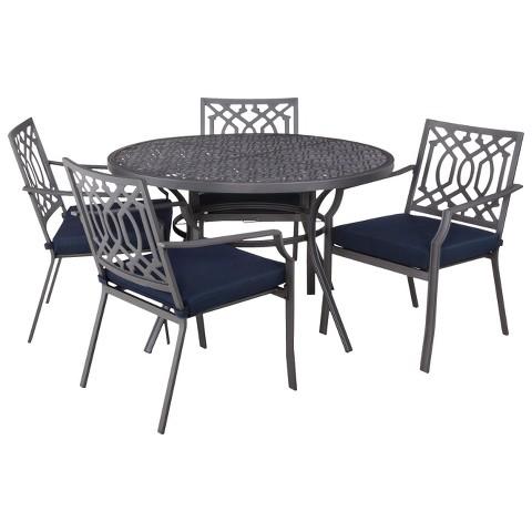 Harper 5 Piece Round Patio Dining Furniture Set Tar