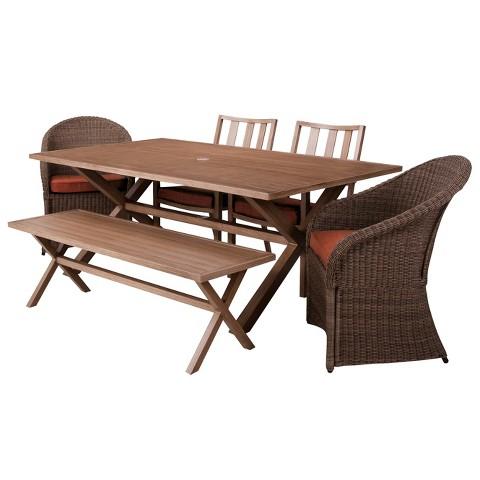 Threshold Holden 6 Piece Metal Wicker Rectangular Patio Dining Furniture Set