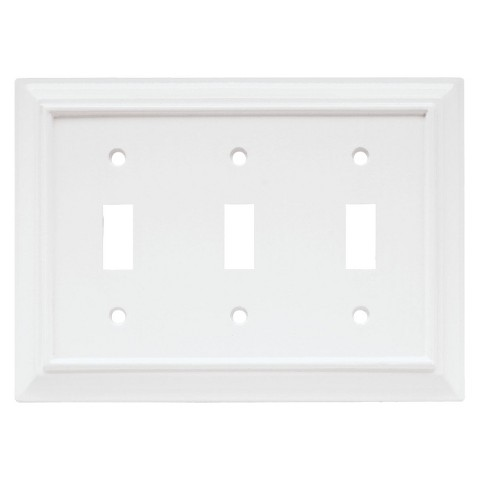Brainerd Wood Architectural Triple Switch Wall Plate - White