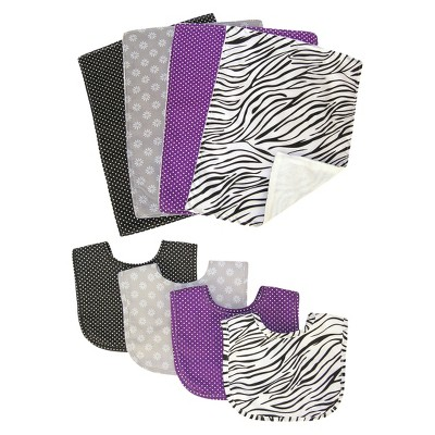 Trend Lab 8pc Bib & Burp Cloth - Grape Expectations