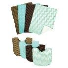 Trend Lab 8pc Bib & Burp Cloth Gift Set - Cocoa Mint