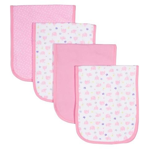 Gerber® Newborn Girls' 4 pack Burpcloth Set - Pink