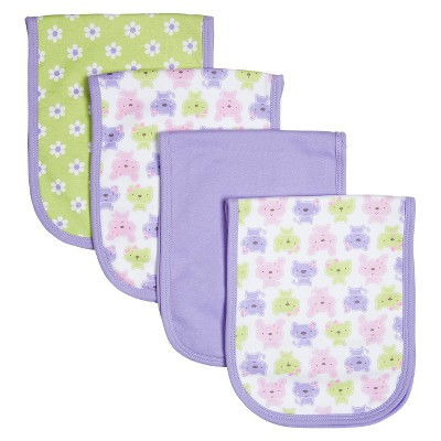 Gerber® Newborn Girls' 4 Pack Bunny Burp Cloth Set