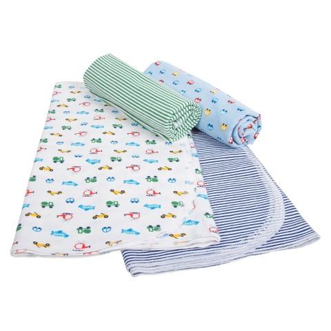 Gerber® Newborn Boys' 4 Pack Transportation Blankets - Blue