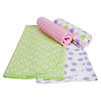 Gerber® Newborn Girls' 4 Pack Bunny and Print Blankets