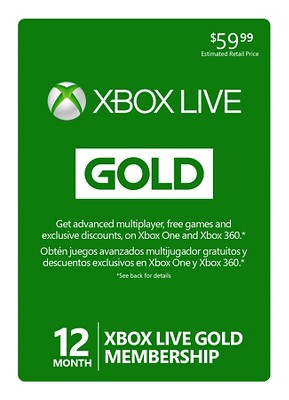 Xbox Live 12 Month Gold $59.99