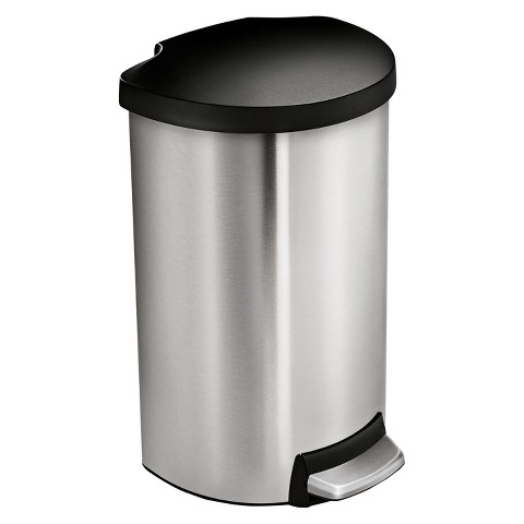 simplehuman studio 40 Liter Semi-Round Step Trash Can in Brushed Stainless Steel with Plastic Lid