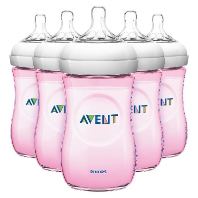 Avent Natural 9oz 5pk Baby Bottle Set - Pink