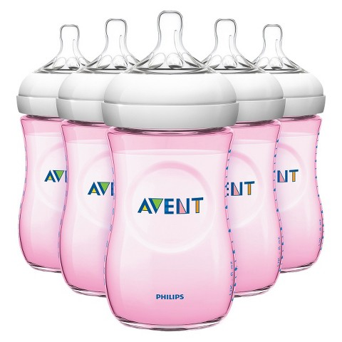 Avent Natural 9oz 5pk Baby Bottle Set - Pink
