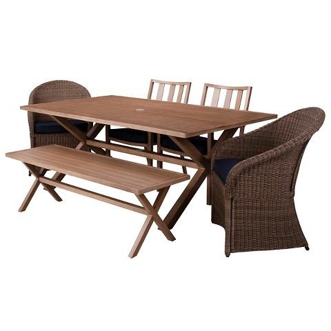 Threshold™ Holden 6-Piece Metal/Wicker Rectangular Patio Dining Furniture Set