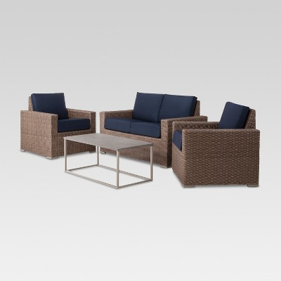 Heatherstone 4-Piece Wicker Patio Conversation Set - Navy - Threshold™