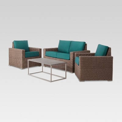 Heatherstone 4-Piece Wicker Patio Conversation Set - Turquoise  - Threshold™