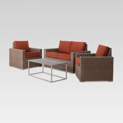 Heatherstone 4-Piece Wicker Patio Conversation Set - Orange - Threshold™