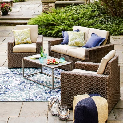Heatherstone 4-Piece Wicker Patio Conversation Set - Tan - Threshold™