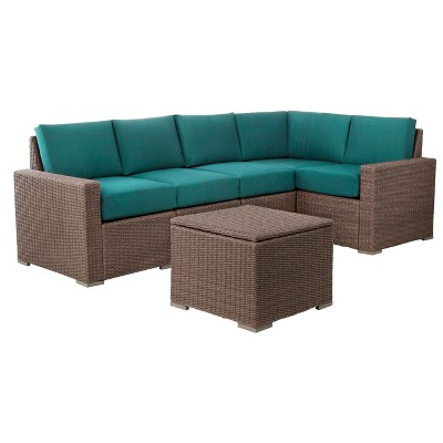 Heatherstone 6-Piece Wicker Patio Sectional Seating Furniture Set- Turquoise  - Threshold™