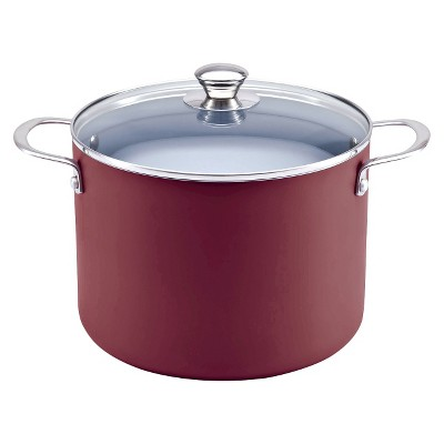 Chefmate Ceramic Nonstick Stock Pot Red 8qt
