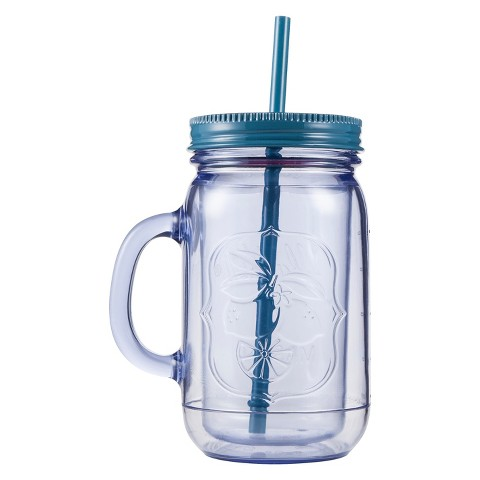 Aladdin Double-Walled Mason Jar with Handle - Blue (32 oz)