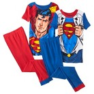 Superman Boys' 4-Piece Short-Sleeve Pajama Set