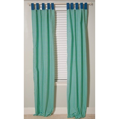 Pam Grace Blue Zig Zag Curtains