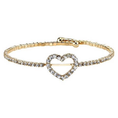 Silver Plated Crystal Heart Bracelet - Gold