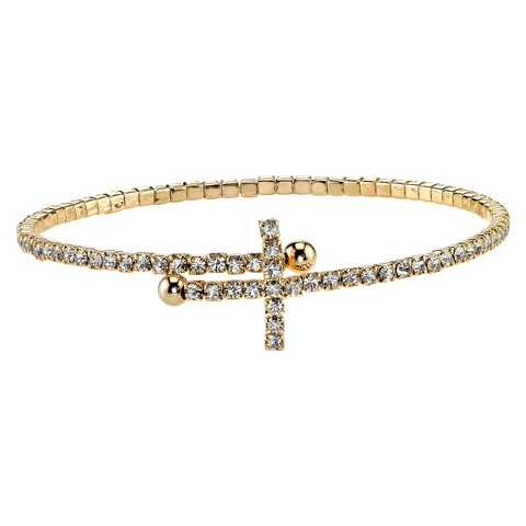Silver Plated Pave Cross Bracelet - Gold