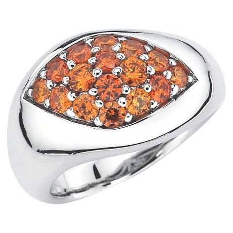 Lotopia Sterling Silver Marquise Ring with Swarovski Zirconia Stones - Orange