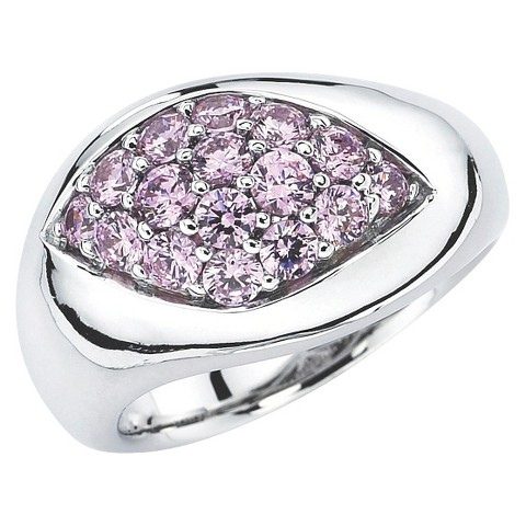 Lotopia Sterling Silver Marquise Ring with Swarovski Zirconia Stones - Pink