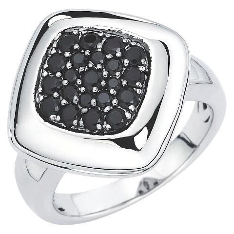 Lotopia Sterling Silver Square Ring with Swarovski Zirconia Stones - Black