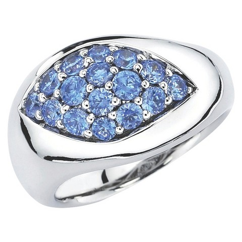 Lotopia Sterling Silver Marquise Ring with Swarovski Zirconia Stones - Ocean Blue