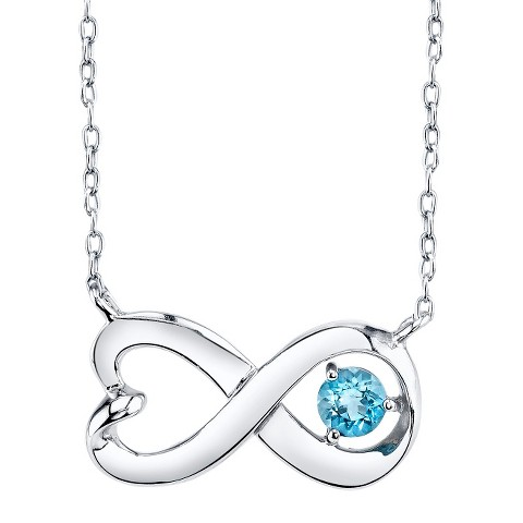 Sterling Silver Infinity Pendant with Blue Topaz  - Silver