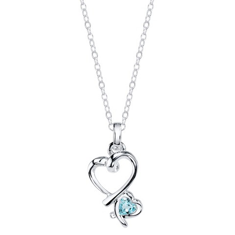 Sterling Silver Double Heart with Blue Topaz Pendant - Silver