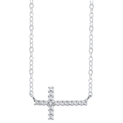 Sterling Silver Sideways Cross with Diamond Accent Pendant - Silver