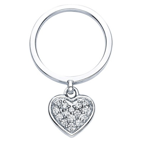 Lotopia Sterling Silver Dangle Heart Charm Ring with Swarovski Zirconia Stones - White