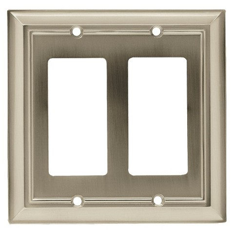 Brainerd Architectural Double Decorator Wall Plate - Satin Nickel
