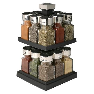Olde Thompson 16 Jar Square Rotating Filled Spice Rack