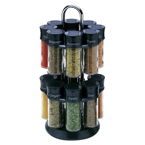 Olde Thompson 16 Jar Filled Spice Rack - Black