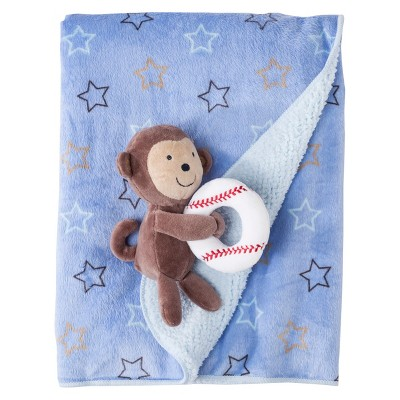 Just One You Made by Carter's® Blue Stars Blanket with Monkey and Rattle