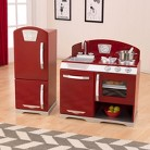 Kidkraft Cranberry Two Piece Retro Kitchen and Refirgerator