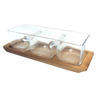 THRESHOLD™ 3 PIECE GLASS BOWL WITH ACACIA STAND
