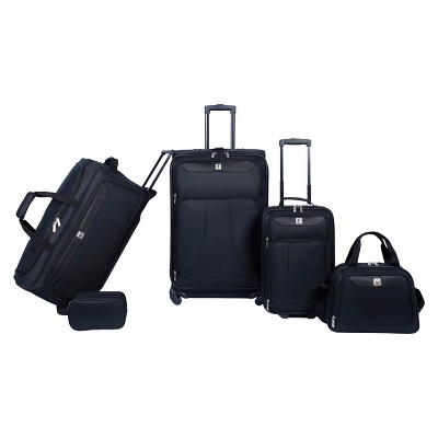Skyline 5-Piece Spinner Luggage Set - Ebony Solid