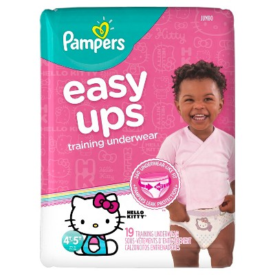 Pampers Easy Ups Girls Training Pants Jumbo Pack, Size 4T-5T (19 Count)
