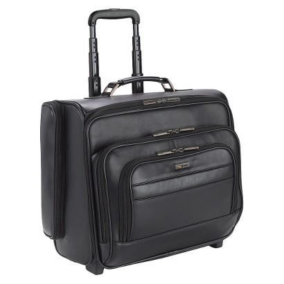 """Solo® Classic Leather CheckFast Rolling Overnighter Case - Black (15.6"""")"""