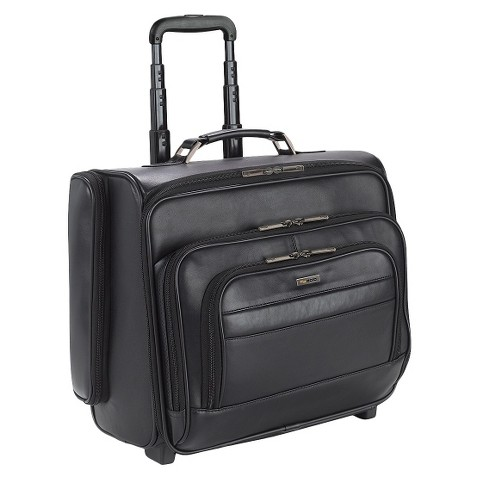 """Solo Classic Leather CheckFast Rolling Overnighter Case Black- 15.6"""""""