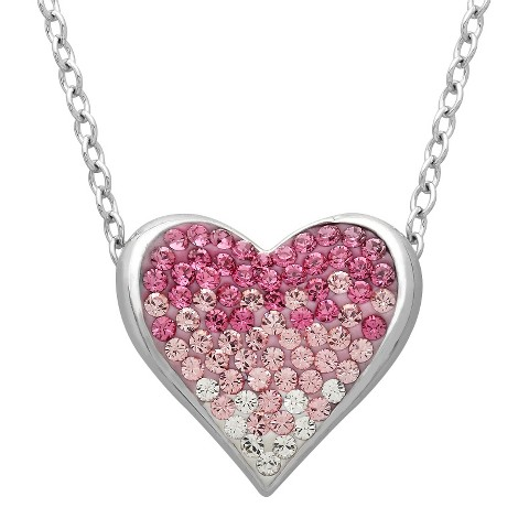 "Swarovski Elements Pink and White Heart Necklace in Sterling Silver  (18"")"